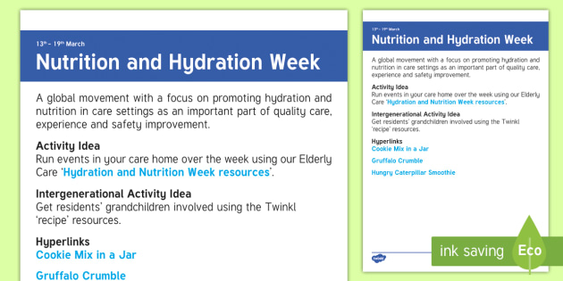 Nutrition and Hydration Week Adult Guidance - Calendar Planning March 2017, Hydration and Nutrition Week, Activity Co-ordinator, Planning, Ideas,