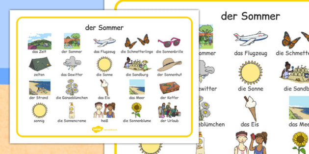der Sommer Summer Word Mat Images German - german, Summer, holidays, word mat, writing aid, holiday, holidays, seasons, beach, sun, flowers, ice cream, sea, seaside