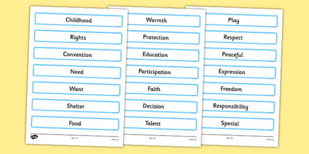 Rights of a Child Key Words - rights, child, key words, rights of a child
