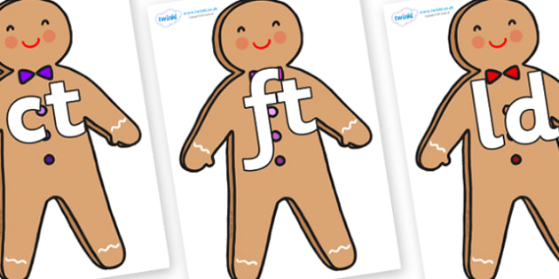 Final Letter Blends on Gingerbread Man - Final Letters, final letter, letter blend, letter blends, consonant, consonants, digraph, trigraph, literacy, alphabet, letters, foundation stage literacy