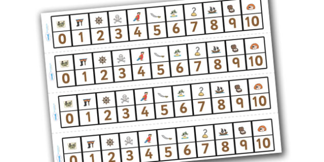 Pirates Number Track (1-10) - Pirates, Maths, Math, number track, farm, numbertrack, Counting, Numberline, Number line, Counting on, Counting back, Pirate, Topic, cutting, fine motor skills, activity,  pirate, pirates, treasure, ship, jolly roger, sh