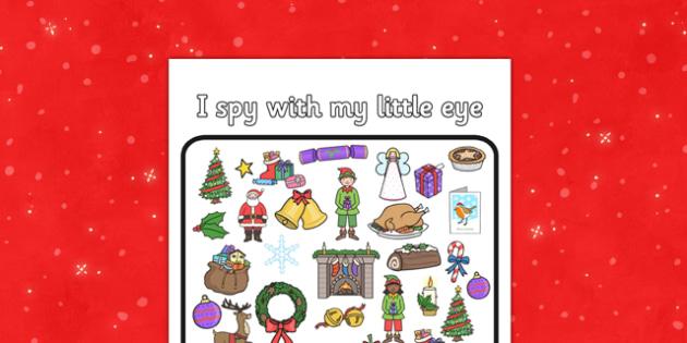 Christmas I Spy Activity Sheet - christmas, I spy, activity, sheet, game, worksheet