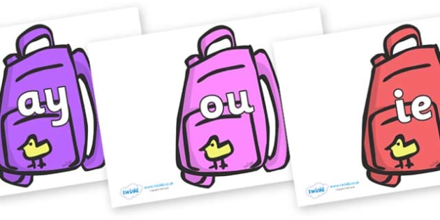 Phase 5 Phonemes on Backpacks - Phonemes, phoneme, Phase 5, Phase five, Foundation, Literacy, Letters and Sounds, DfES, display