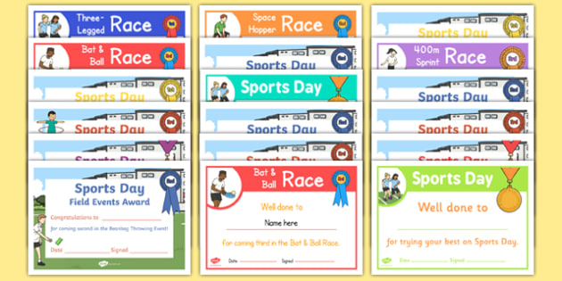 EYFS Races and Field Events Sports Day Certificate Pack