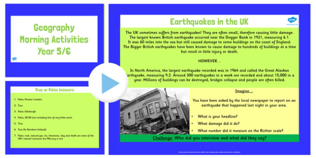 Year 5 6 UK Geography Morning Activities PowerPoint - activity