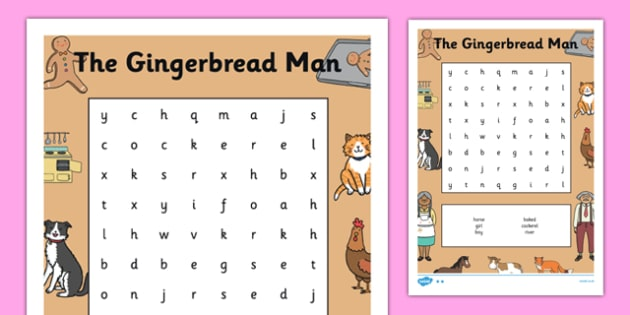 The Gingerbread Man Wordsearch - wordsearch, gingerbread man