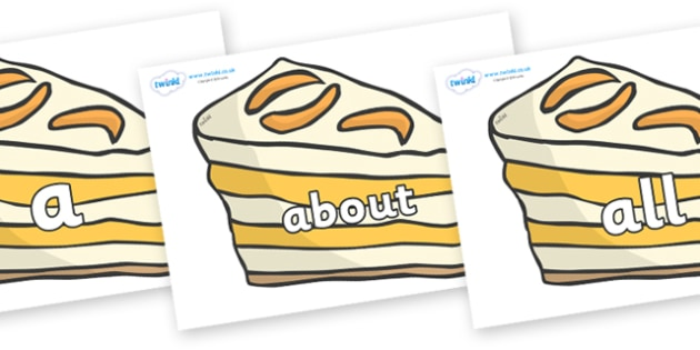 100 High Frequency Words on Peach Dessert to Support Teaching on The Lighthouse Keeper's Lunch - High frequency words, hfw, DfES Letters and Sounds, Letters and Sounds, display words
