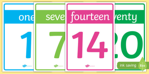 Numbers 0-20 Cards - numbers, 1-20, numeracy, maths, display, learn, activity