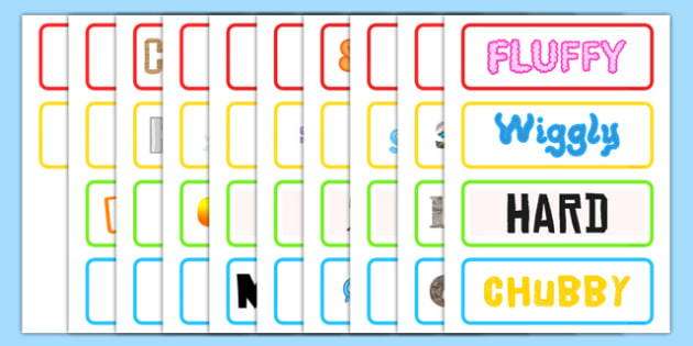 Calligram Word Cards - word cards, words, cards, descriptive words, descriptions game, calligrams, calligram, word cards, descriptive words cards, key words, flashcards, literacy, words on cards
