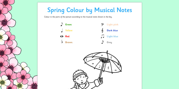 Spring Colour by Musical Notes Activity Sheet - colour, musical notes, activity, sheet, spring, worksheet