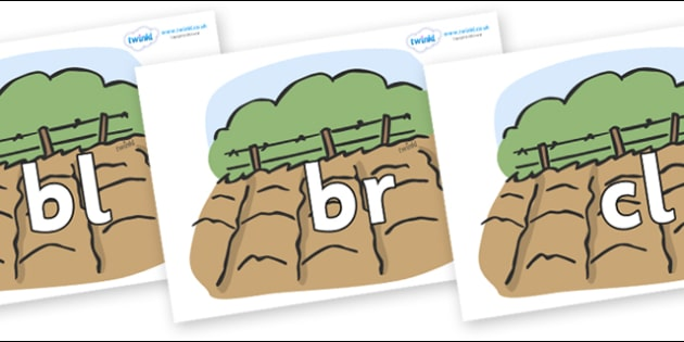 Initial Letter Blends on Fields - Initial Letters, initial letter, letter blend, letter blends, consonant, consonants, digraph, trigraph, literacy, alphabet, letters, foundation stage literacy