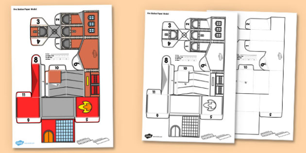 3D Fire Station Paper Model Activity - 3d, fire station, people who help us, paper model, paper craft, paper, model, craft