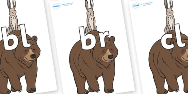 Initial Letter Blends on Bear and the Hare - Initial Letters, initial letter, letter blend, letter blends, consonant, consonants, digraph, trigraph, literacy, alphabet, letters, foundation stage literacy