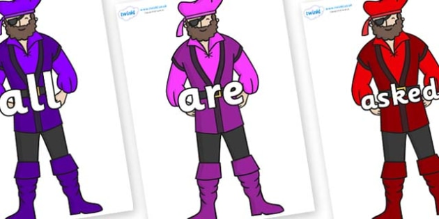 Tricky Words on Pirates - Tricky words, DfES Letters and Sounds, Letters and sounds, display, words