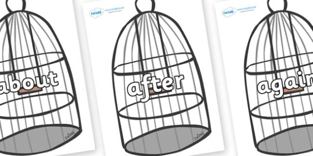 KS1 Keywords on Cages - KS1, CLL, Communication language and literacy, Display, Key words, high frequency words, foundation stage literacy, DfES Letters and Sounds, Letters and Sounds, spelling