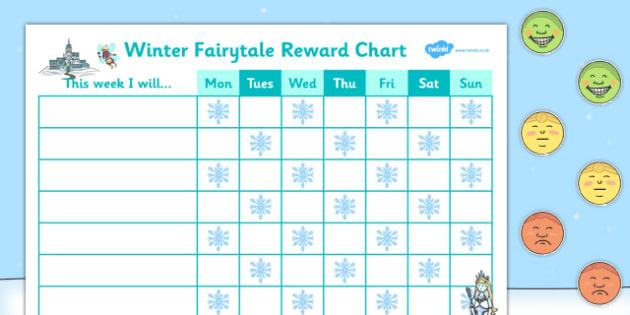Winter Fairytale Reward Sticker Chart - winter, reward, sticker