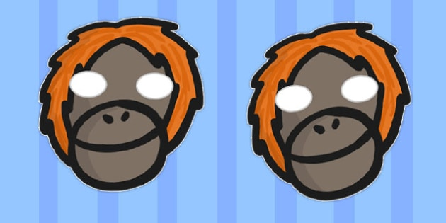 Orangutan Masks - orangutan, masks, role-play, animal, monkey
