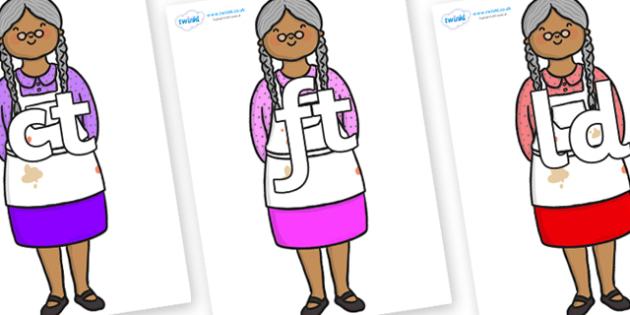 Final Letter Blends on Little Old Woman - Final Letters, final letter, letter blend, letter blends, consonant, consonants, digraph, trigraph, literacy, alphabet, letters, foundation stage literacy