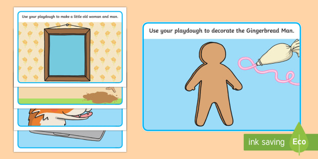 The Gingerbread Man Playdough Mats - Gingerbread man, mat, playdough, activity, traditional tales, tale, fairy tale, gingerbread, little old man, little old woman, fox, run run