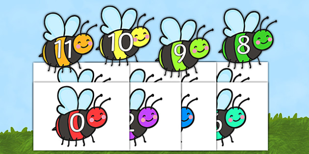 0-20 On Colourful Bees - 0-20, colourful, bees, minibeasts, bugs
