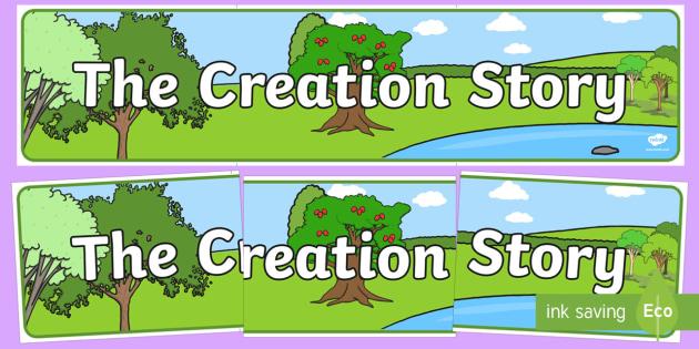 Adam and Eve Creation Story Display Banner - usa, america, Adam, Eve, Eden, serpent, fruit, earth, garden, creation, creation story, display, banner, sign, poster, paradise, sea creatures, birds, stars, moon, sun, tree, evil, knowledge, animals, sky,