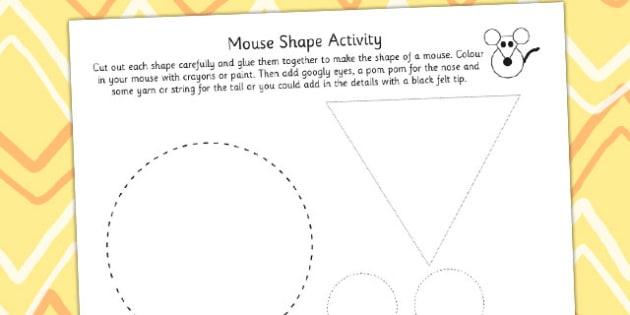Paper Mouse Shapes Activity - shape, paper craft, paper games
