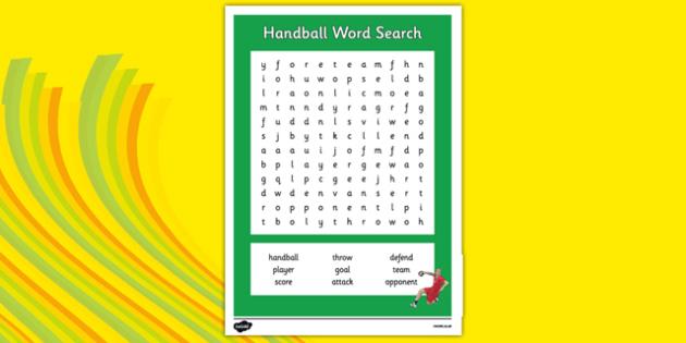 Rio 2016 Olympics Handball Word Search - rio 2016, 2016 olympics, rio olympics, word search, wordsearch