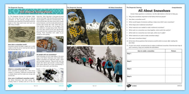 The Desperate Journey All About Snowshoes Comprehension Activity - Highland Clearances, travel, expedition, new life, canada, scotland, cfe, ks2, curriculum for excellence, reading, inference