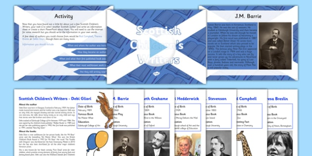 Scottish Children's Writers Information Sheet Resource Pack - CfE, Literacy and English, authors, Scottish Children's writers, R.L Stevenson, Kenneth Grahame, J.M Barrie, Mairi Hedderwick