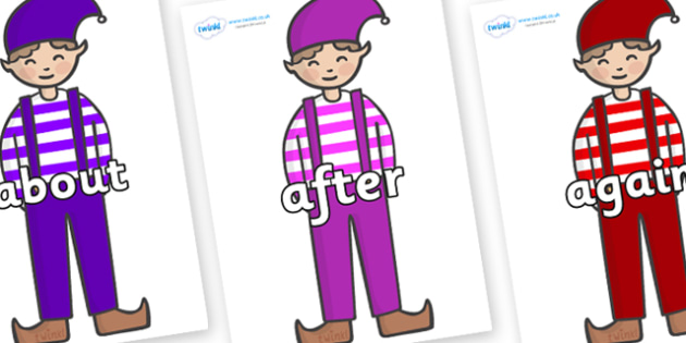 KS1 Keywords on Elf (Boy) - KS1, CLL, Communication language and literacy, Display, Key words, high frequency words, foundation stage literacy, DfES Letters and Sounds, Letters and Sounds, spelling