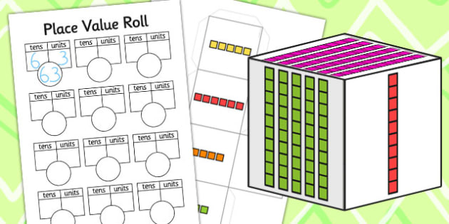 Place Value Roll Activity Dice Net And Worksheet - numeracy, visual aid, dice