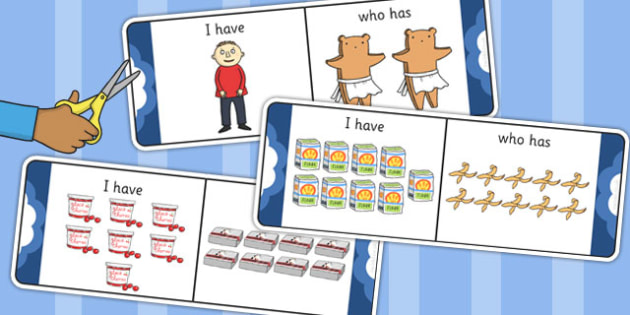 I Have Who Has Counting Activity to Support Teaching on Biscuit Bear - Biscuit, Bear
