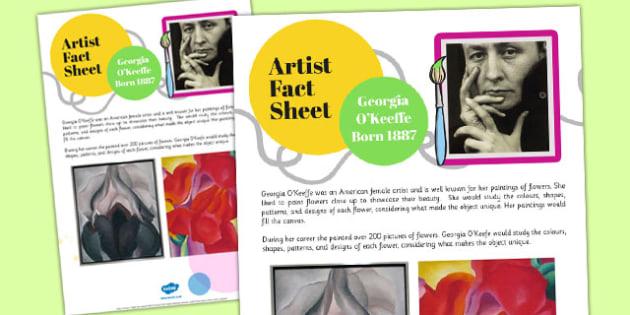 Artist Fact Sheet Georgia O'Keeffe - artist, fact sheet, o'keeffe