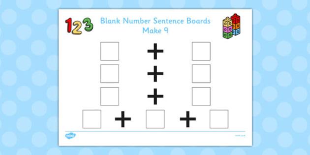 Blank Number Sentence Boards to 10 Make 9 - sentence boards