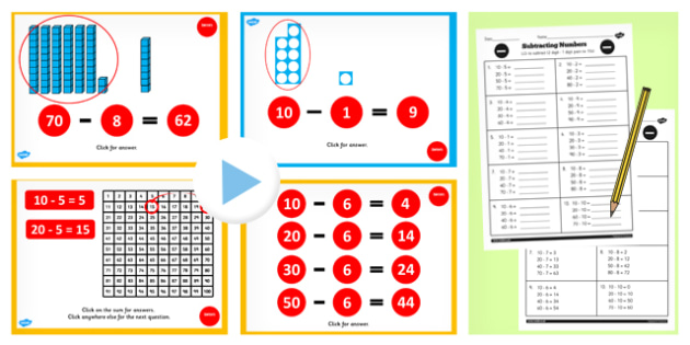 Year 2 Subtracting 2 Numbers and One Pairs and Bonds to 10 Lesson