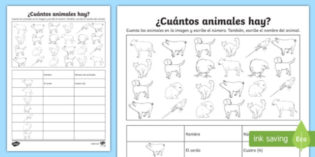 How Many Animals Are There Activity Sheet, worksheet
