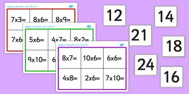 Tabla înmulțirii cu 6, 7, 8 și 9 - Bingo