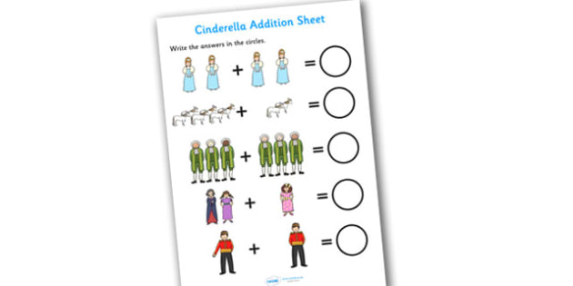Cinderella Addition Sheets - cinderella, addition, sheets, addition sheets, cinderella addition, cinderella worksheet, addition worksheet, maths, numeracy