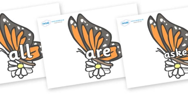 Tricky Words on Butterflies - Tricky words, DfES Letters and Sounds, Letters and sounds, display, words