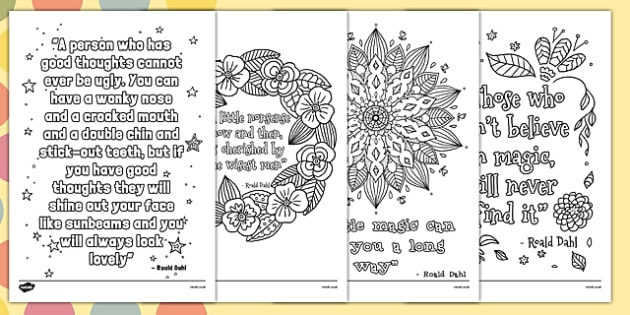 Roald Dahl Quotes Mindfulness Colouring Posters - roald dahl, quotes, mindfulness, colouring, posters
