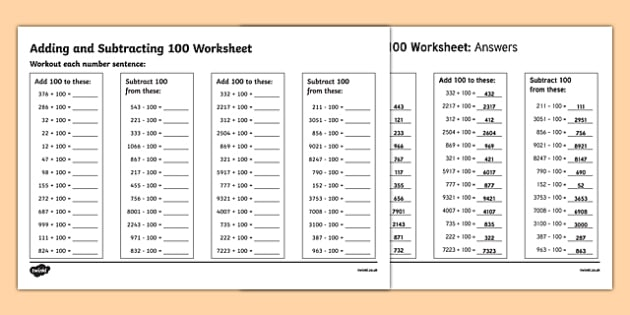 Adding And Subtracting 100 Worksheet Addition And