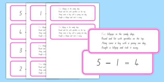 Number Sentences and Verse Cards 5 Lollipops - nz, new zealand, five lollipops, number sentences, verse cards