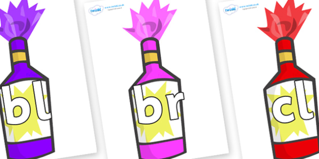 Initial Letter Blends on Party Poppers - Initial Letters, initial letter, letter blend, letter blends, consonant, consonants, digraph, trigraph, literacy, alphabet, letters, foundation stage literacy