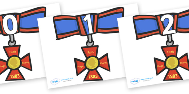 Numbers 0-31 on Medals - 0-31, foundation stage numeracy, Number recognition, Number flashcards, counting, number frieze, Display numbers, number posters