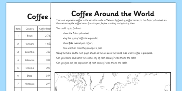 Coffee Around The World Activity Sheet Pack - coffee, map, world, producers, consumers, worksheet