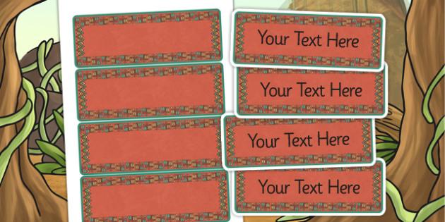 Mayan Civilization Themed Editable Labels - mayans, signs, labels