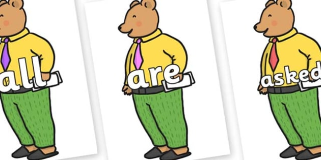 Tricky Words on Mr Bear to Support Teaching on The Jolly Christmas Postman - Tricky words, DfES Letters and Sounds, Letters and sounds, display, words