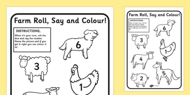 EYFS Farm Roll Say Colour - farm, colouring, dice games, games