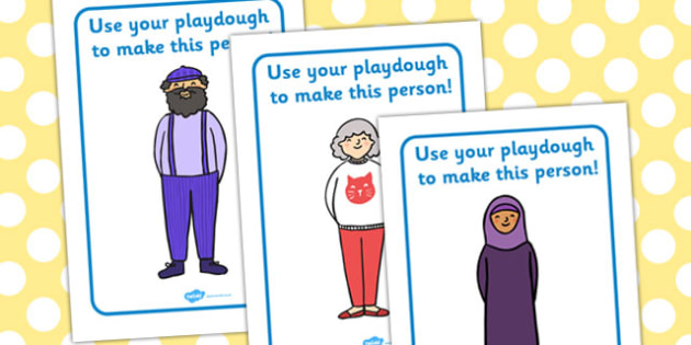 People Playdough Mats - playdough, mats, people, activity, game