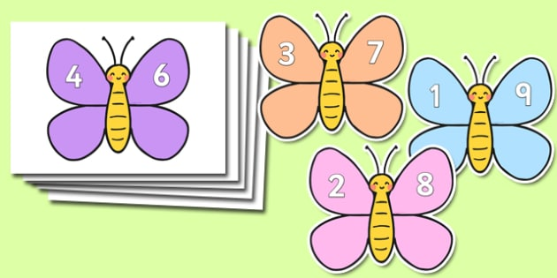 Number Bonds To Ten On Cute Butterflies - maths, numeracy, addition, counting on, animals, display, visual aid, colourful,